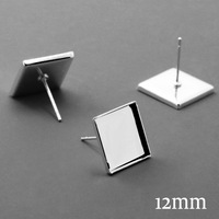 200X New Arrive 2015 Silver Plated Ear Stud Blanks with inner 12mm Tray for Glass Cameo Cabochons DIY Stud Earrings
