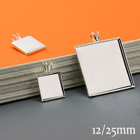 50X SILVER PLATED DIY Square Pendant Tray W/Inner 12/25mm Bezel Setting Jewelry Findings for Glass Cabochons
