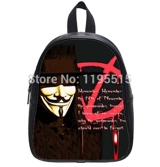 Custom V-For-Vendetta Design Book Bag School Travel Sports Outdoor School Bag Backpack for Students/Children (Large) Ur1004(China (Mainland))