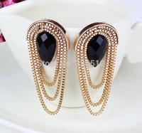 Vintage bronze acrylic black water drop earrings chain tassels dangle earrings turkish chandelier jewelry Free shipping