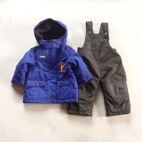 2014 Winter Baby Clothing Sets Cartoon Tiger Waterproof Wadded Jacket + Bib Pants with Fleece Children's Warm Snow Ski Suit