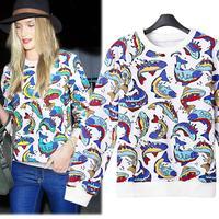 Designer 2014 Women's Printed Pullover Cotton Casual Long Sleeve Sweatershirt  Women Tops   Fish Print Animal Hoodies S-XL