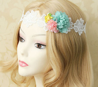 LH027 Free Shipping New Romantic  Jewelry White Lace Headbands Flowers  Pendants Hair Rope Bands