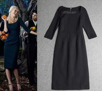 European Luxury Brands Dress Women's Half Sleeves Square Collar Black Knee Length Cotton Sheath Dress