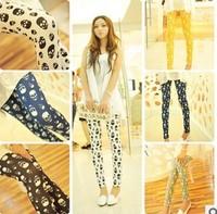 The latest export models fall 2014 fashion small skull original single cotton stretch pants fashion leggings wholesale