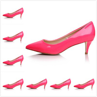 Size:34-41 Women's Newest Rose Red Genuine Patent Leather Pointed Toe Low Heels Pumps,Ladies Luxury Brand Slip On Dress Shoes