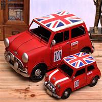Hot sale Vintage mini cars flag version of metal classic cars model home decoration