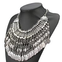 2014 Bohemian turkish gypsy retro trendy silver long tassel coin necklace for women