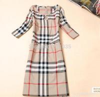 Female spring autumn plus size full sleeve O-neck classic British style big plaid slim Hedging dresses R96 B01