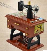Free Shipping New Fashion Vintage Mini Sewing Machine Style Mechanical Music Box