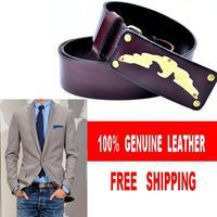 100% Cowhide Men belts Genuine Leather High Quality Mens Belt Luxury AJ Brand Name Buckle Cinturones Hombre MBT0241