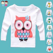 Min order any 2pcs in shop sz70~100 baby cartoon t-shirt  child tops tees children clothing boys girls long sleeve t-shirts(China (Mainland))