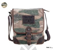 New arrival men fashion camouflage color canvas cowhide patchwork messenger bags ,vintage shoulder bags L141AI02