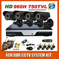 Home Surveillance 4 Channel 960H DVR CCTV Camera System Kit Sony 960H Effio 750TVL Waterproof Night Vision Security Video KIT