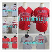 Free shipping cheap stitched 2014 LA/ Los Angeles Angels 27 Mike Trout  youth  baseball jersey/baseball shirt