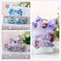 2014 New Frozen Cartoon Hairpin and Bowknot Hair Band Set Wholesale 10 sets