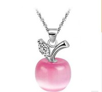 Apple Cat's eye stone Plating Platinum 2015 new arrivals wedding necklace crystal jewelry
