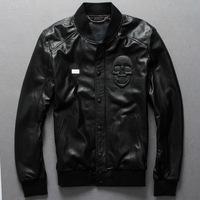 British pop Skull skeleton head punk Men knit collar Sheepskin genuine leather motorcycle clothing jacket coat for man