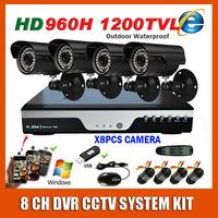 Home Surveillance 8 Channel 960H DVR Sony Effio 1200TVL Waterproof Night Vision Camera Kit CCTV Security 8CH Video System