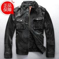 Korean handsome f-man stand collar sheepskin genuine leather jacket coat for man slim simple black motortcycle clothing