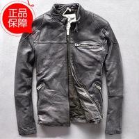 Soft washed sheep skin Slim Collar dermis men's leather jacket Motorcycle yellow\yellow leather jacket leather jackets suppliers