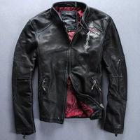 POP rock Mens cross skeleton elements zipper leather jacket slim cowhide leather Motorcycle clothing