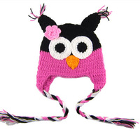 2014 autumn winter Woolen baby boy girl hat animal shape owl handmade hat multicolor