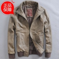 man genuine leather Washing do old Lapel Thread cuffs sheepskin leather retro leather jacket for man