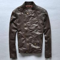 Korean men Slim oblique zipper motorcycle clothing fashion genuine leather jacket coat for man goatskin leather