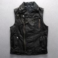 New winter GENUINE leather outerwear coat vest sheepskin coat man leather coat vest undershirt leather waistcoat Slant zipper
