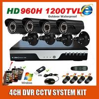 4CH 960h DVR Security Home Surveillance Sony Effio 1200TVL Waterproof Night Vision CCTV Camera System Kit