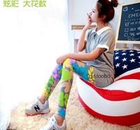 2014 spring women's new Korean personality stripe stitching leggings wholesale fashios star