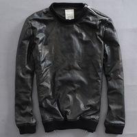 Korean men's Pullover Hedging sheepskin coat Camouflage Rib Hem  motorcycle jacket dermis Leather leather jacket lambskin