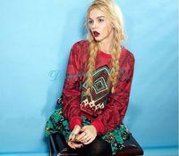Loose Spring and Autumn Casual Sweatshirt Women Geometric Pop Prints Ethnic Sweatshirts Pullover Free Shipping
