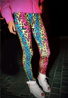 spring Free shipping 2014 ladies fashion female sexuality neon leopard striped pants high elastic leggings