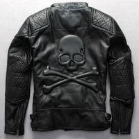 Men's clothing motorcycle racing suit oblique zipper motorcycle jacket skull scalp special men leather jacket Harley models