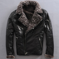 High-grade winter Men's merino wool sheep fur coat leather motorcycle sheep wool jackets men leather jacket with fur collar