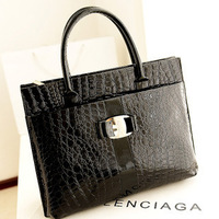 Free shipping  pu handbag leather crocodile pattern retro package anyway Both women bag