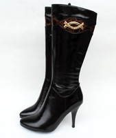 Free Shipping 2014 Fashion Women's Classy Chic Gold Rhinestones Genuine Cow Leather+Warm Flock  High Winter Riding Boots