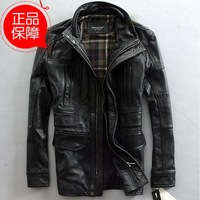 Thick black cowhide genuine leather jacket coat for man Long section Hunting clothing Multi-pocket fashion leather jacket