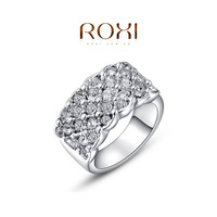 2015 ROXI Christmas Gift Crystal Zircon Man-made Fashion Platinum Gold Plated Circle Lots Zircon Finger Ring Jewelry 2010016315b