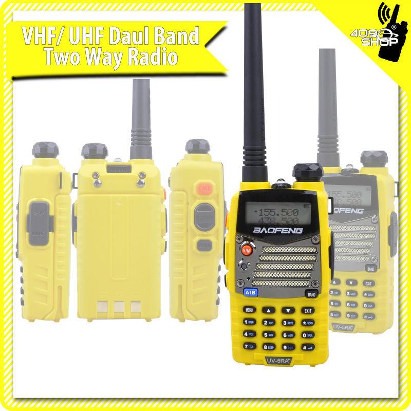 cheapest 5W Yellow UHF 400-480 / VHF 136-174 Mhz baofeng UV5RA-PLUS MOBILE ham radio walkie talkie transceiver(Hong Kong)