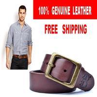 100% Genuine Leather Men Belt High Quality Wide Top Brand Belts For Mens Casual Man Strap Cinturones Ceinture MBT0243