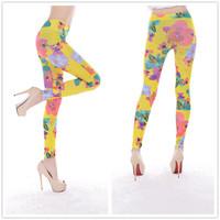 9764 Seamless Denim yellow color floral print leggings pantyhose leggings trade