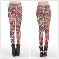 8107 Seamless big yards Madden BAM POW English beauty printed leggings tattoo leggings