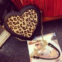 Free Shipping 2014 New Real Horse Hair Diagonal Package Leopard print Women Handbags Rivet Heart-shaped bag Chain Messenger Bag