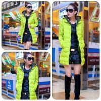 Top-end Candy Colors New Winter Thick Long Down Cotton Coat Women Parkas Outerwear Plus size L XL XXL ,B2684