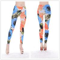 9754 Seamless sunflower print leggings pantyhose tattoo leggings trade