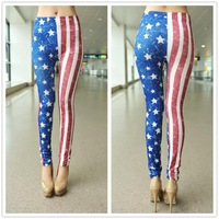 1628 Seamless vertical stripes flag print leggings stars tattoo leggings pantyhose trade