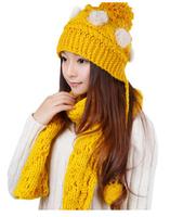 hot sale Winter Korean tide fashion lady wool hat scarf set two piece suit warm winter